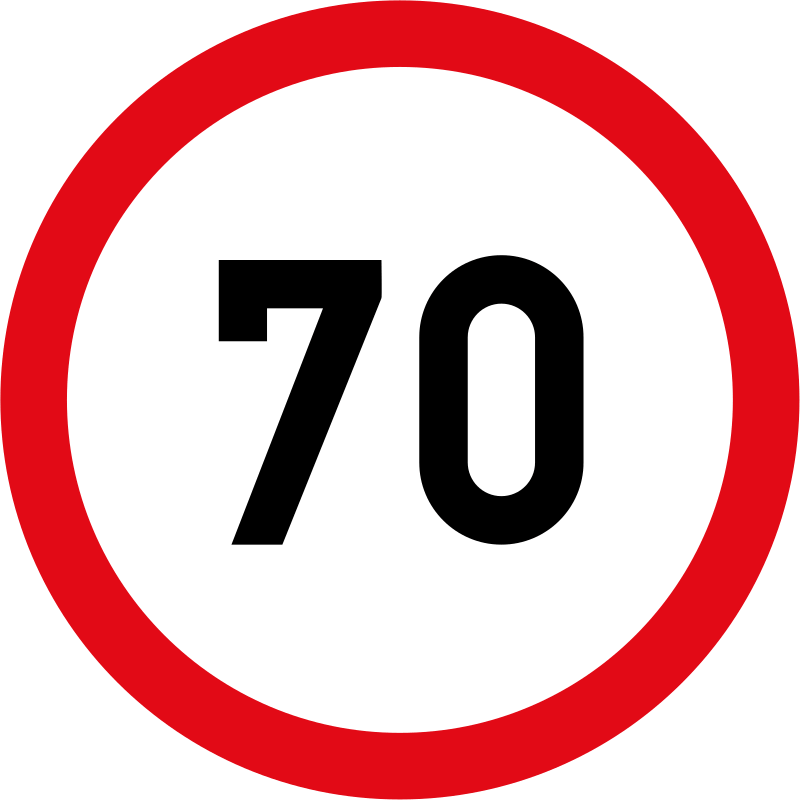 Speed limit of 70 km/h