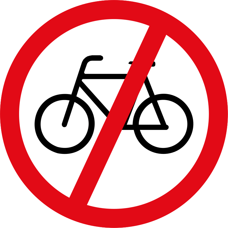 Cyclists prohibited