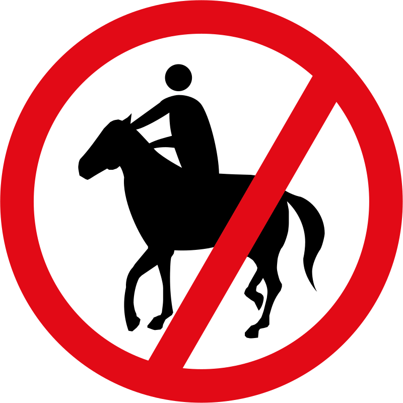 Horses and riders prohibited